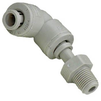 1/8 inch OD or 1/4 inch ID Plastic Swivel Elbow